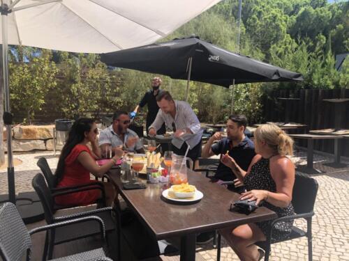 Customers eating outside